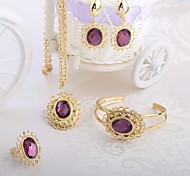 New Design 2014 African Woman Gold Plated Jewelry Set with Brown&Purple Rhinestone Jewelry Set A204