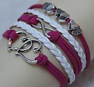annata argento antico doppio cuore 8 18 centimetri unisex braccialetto di cuoio (1 pc)