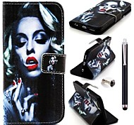 Smoking Monroe Pattern PU Leather Cover and  Touch Pen with Diamond Dust Plug for iPhone 6