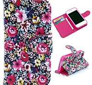 Colorized Flowers Pattern Wallet Style Flip Stand TPU+PU Leather Case for iPhone 4/4S