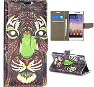motif de tigre style tribal portefeuille de style stand de rabat magnétique pc + étui en cuir PU pour Huawei Ascend p7