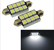 Carking™ 12V 2PCS 5050-8SMD-41MM Car Festoon Interior Light Rome Lamp White Light