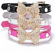 Lureme PU Crtstal Bowknot Crocodile Grain Collar for Pets Dogs (Random Color)