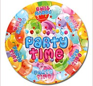Coway 50pcs 7*7 Balloon PARTY Birthday Party One-Time Plate Fruit Cake Paper Dish