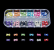 60PCS 12 Colours Vivid Bowknot Resin Nail Art Decoration