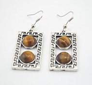 Toonykelly® Vintage Look Oblong Natural Tiger Stone Dangle Drop Earring(1 Pair)