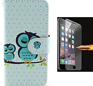 Size of Owls PU Leather Full Body Case with Explosion-Proof Glass Film for iPhone 6