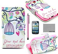 COCO FUN® Lovely Birdcage Pattern PU Leather Case with Film and Stylus for Samsung Galaxy Core GT-I8260 I8262
