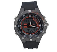 Men's Round Dial Sports Watch LED Display Japanese Quartz Watch PU Strap Stopwatch Wrist Watch (Assorted Colors)
