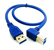 0.5M 1.64FT USB 3.0 A Male to Left Angle 90° B Male AM/BM High Speed Printer Cable Free Shipping