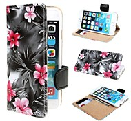 Black Court Flower Leather Case Cover with Stand and Card Slot for iPhone 6