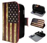americano billetera bandera cubierta de cuero de la vendimia de la PU con el soporte y la ranura para tarjeta para samsung Lite fama galaxia s6790