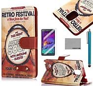 Coco fun® retro padrão de bateria da música estojo de couro pu com protetor de tela, caneta e stand para Samsung Galaxy nota 4