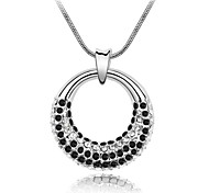 Fantasy of Moon Vintage Short Necklace Plated with 18K True Platinum Jet Black Crystallized Austrian Crystal Rhinestone