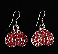 Elegant Alloy Silver Plated heart shaped with Red Rhinestone Women's Earrings