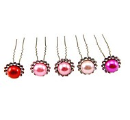 Fashion 7cm Women's Red Alloy Rhinestone U-Bob(White and Pink)(10Pc)(Random Color)
