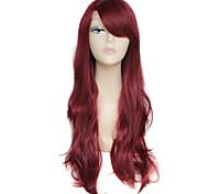 28 Inch Long Wave Claret Female Fashion 180 Degree High Temperature Fiber  Synthetic Wig
