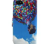 um caso de corpo inteiro padrão do balão de couro pu com suporte para o iPhone 5-C