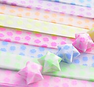 2 x 30 PCS Fluorescent Effect Clover Pattern Lucky Star Origami Materials (Random Color)