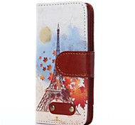 Cartoon Iron Tower Pattern Oxhide Character Retro PU Leather Case for iPhone4/4S