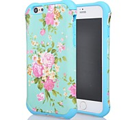 Fashion Soft Silicone Elegant Flowers Hybrid High Impact Bumper Hard Back Case Cover fit for iPhone 6