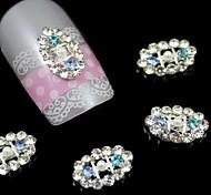 10pcs Long Oval Rhinestone Alloy Accessories Nail Art Decoration