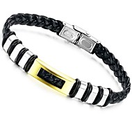 Fashion 22cm Men Gold-Black Leather Stainless Steel Bracelet