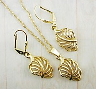 18K Gold Plated Leaves Jewelry Set