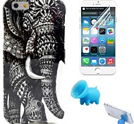 motif de l'éléphant TPU étui souple avec support et le film de protection pour iPhone 6