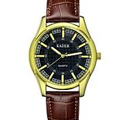 resistente à água relógio de couro Dial banda de pulso de quartzo dos homens casual (cores sortidas)