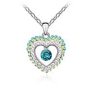 Tears Gorgeous Ladies Short Necklace Plated with 18K True Platinum Aquamarine Crystallized Austrian Crystal Rhinestone