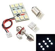 T10/BA9S/Festoon SV85 2.5W 9x5050SMD 50LM White Light LED Bulb for Car Door lamp / License Plate Light / Reading Light
