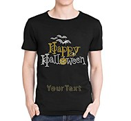Personalized Rhinestone T-shirts Happy Halloween Pattern Men's Cotton Short Sleeves