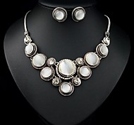 (1 Pc)European (Round Opal) as Picture Alloy Necklace and Earring(Hualuo Jewelry)