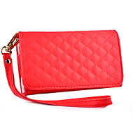 Diamond Lattice Wallet PU Leather Full Body Case with Stand for iPhone 4/4S(Assorted Colors)