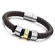Classic Handmade 20cm Men Black Leather Stainless Steel Bracelet