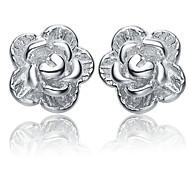 Fine Jewelry 925 Sterling Silver Flower Earring Stud 1 Pair