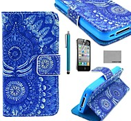 COCO FUN® Blue Tribal Pattern PU Leather Full Body Case with Screen Protector, Stand and Stylus for iPhone 4/4S