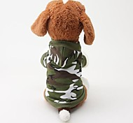 Dog Coats - S / M / L - Winter - Green / Pink Cotton / Terylene