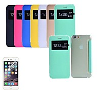 Ultra Thin Transparent Screen Touch PU Leather Full Body Case with Screen Protector for iPhone 6 Plus (Assorted Colors)