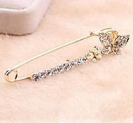 Korean Version Sweet Alloy Rhinestone Butterfly Pin Brooch