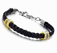 Fashion 22.5cm Men Black Leather Stainless Steel Bracelet