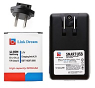 Link Dream 3.7V 3200mah Li-ion Battery + USB Cradle Battery Charger + AU Plug Adapter for  Samsung  I9300  S3