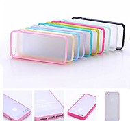 Multi-Color Soft TPU Frame Gel Translucent Scrub PC Hard Back Case for iPhone 4/4S(Assorted Color)