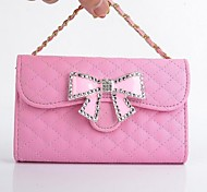 Diamond Bowknot PU Leather Wallet Full Body Case with Stand for iPhone 6(Assorted Colors)