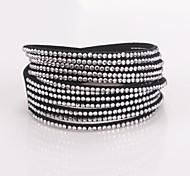 Eruner®Fashion Leather Wrap Wristband Cuff Punk Rhinestone Multilayer Bracelet Bang
