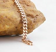 18K Russia CC/585 Golden Plated Rose Gold Figaro Bracelet 22cm