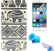 племенные ковры и слон шаблон ТПУ Мягкий чехол с подставкой и защитной пленкой для Iphone 6