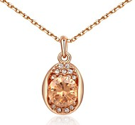 Simple Style 18K Rose Gold Plated Champagne Gold Austria Crystal Waterdrop Pendant Necklace