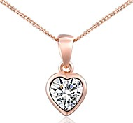 Simple Style 18K Rose Gold Plated Clear Austria Crystal Simulated Diamond Heart Pendant Necklace